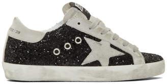 Golden Goose SSENSE Exclusive Black Glitter Superstar Sneakers