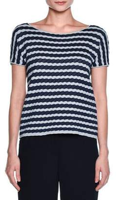 Giorgio Armani Wave-Stripe Scoop-Neck Tee, Navy/Gray
