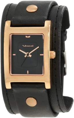 Vestal Women's EA026 Electra Rosegold Black Leather Cuff Watch