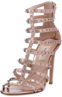 Valentino Lovestuds 105mm Caged Metallic Napa Sandal