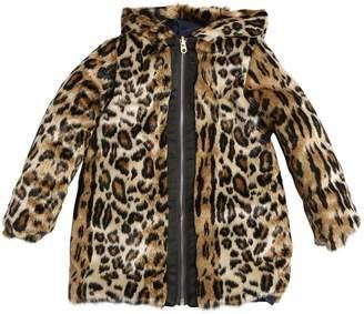 Little Marc Jacobs Reversible Faux Fur & Nylon Coat