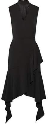 Goen.j Wrap-Effect Asymmetric Ruffled Crepe Dress