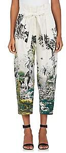 Alberta Ferretti Women's Jungle-Print Cotton-Blend Crop Pants - Green, White