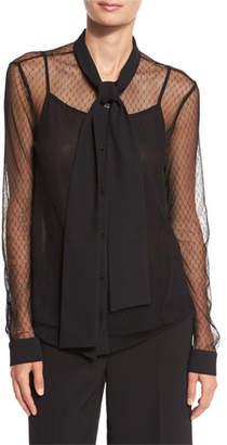 MICHAEL Michael Kors Long-Sleeve Tulle Tie-Neck Blouse $125 thestylecure.com