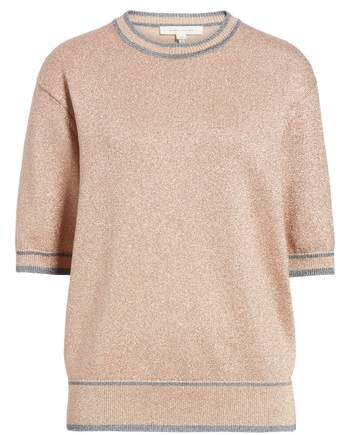 Rib Trim Metallic Sweater