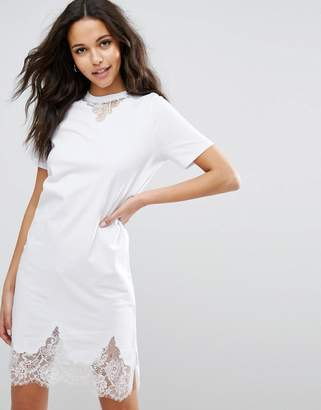 ASOS T-Shirt Dress with Lace Inserts $43 thestylecure.com