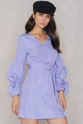 Shein Tie Sleeve Belt Dress Lavender