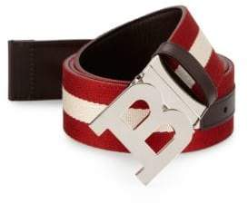 Bally Men's B Buckle Canvas Leather Belt - Red White - Size 85 (34)