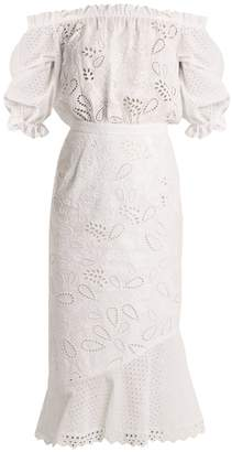 Saloni Grace broderie-anglaise off-the-shoulder dress