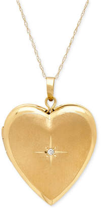 Macy's Diamond Accent Heart Locket Pendant Necklace in 10k Gold