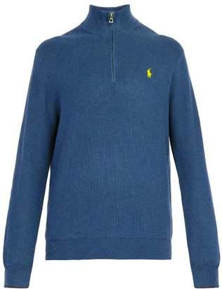 Polo Ralph Lauren High Neck Waffle Knit Cotton Sweater - Mens - Light Blue