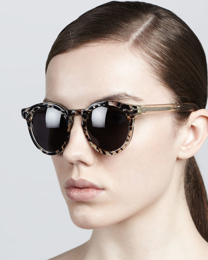 Illesteva Leonard II Round Printed Sunglasses, Brown/Gray