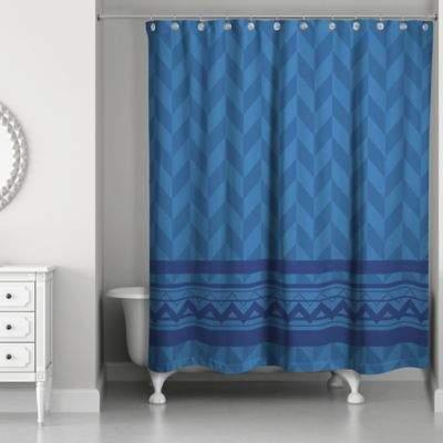 Alternating Pattern with Chevron Shower Curtain in Navy