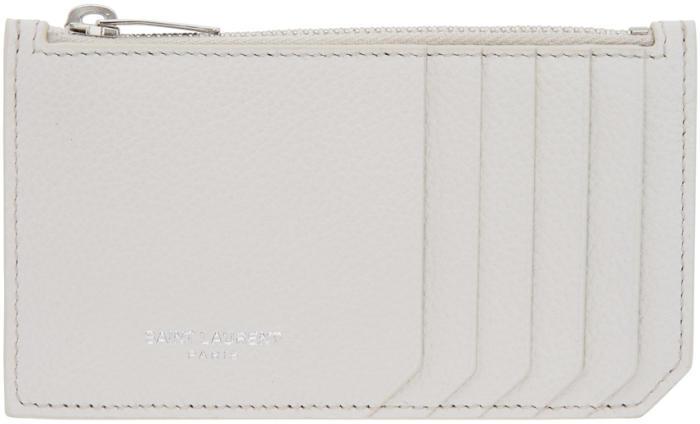 Saint Laurent White 5 Fragments Zip Card Holder