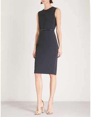 Max Mara Fagotto leather belt stretch-wool dress
