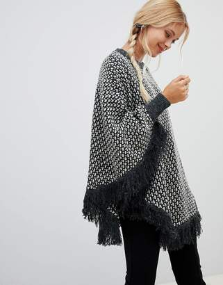 Qed London QED London Roll Neck Poncho Sweater With Tassle Detail