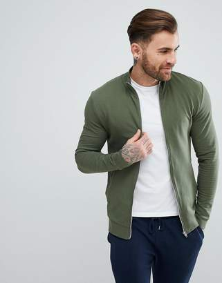Asos DESIGN Muscle Jersey Track Jacket In Green