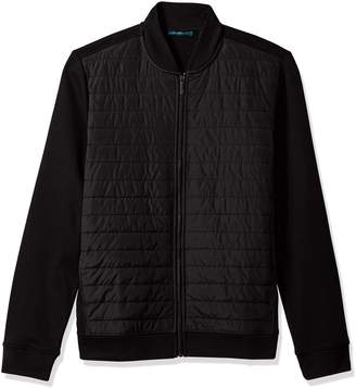Perry Ellis Men's Quilted Mix Media Full Zip Jacket Shirt