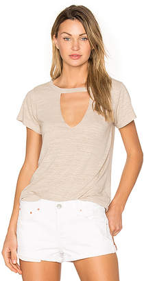 LNA Short Sleeve Cut Out V Tee in Taupe $88 thestylecure.com