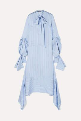 Rokh - Oversized Tie-detailed Striped Satin Dress - Blue