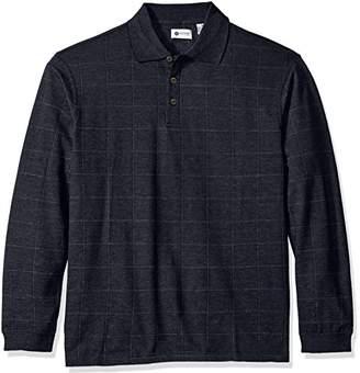 Haggar Men's Long-Sleeve Soft Brushed-Back Windowpane Polo Shirt