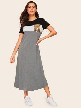 Shein Sequin Pocket Color Block Tee Dress