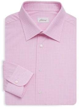 Brioni Checkered Cotton Dress Shirt