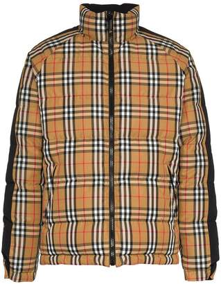 Burberry reversible check logo print feather down puffer jacket