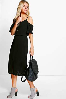 boohoo Woven Cold Shoulder Midi Dress