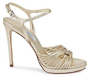 Prada Women's Strappy Metallic Leather Platform Sandals