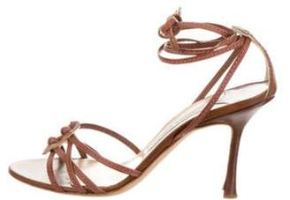 Jimmy Choo Leather Mid-Heel Sandal Brown Leather Mid-Heel Sandal