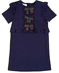 Gucci Kids' Bow-Appliquéd Jersey Dress - Blue