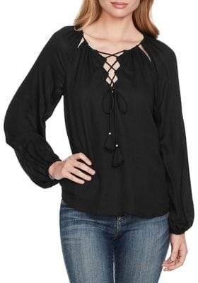 Jessica Simpson Lace-Up Neck Top