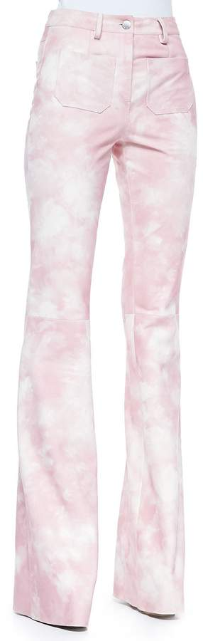 Michael Kors Tie-Dye Leather Bell-Bottom Pants, Oleander