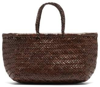 Dragon Optical Diffusion - Triple Jump Small Leather Tote Bag - Womens - Dark Brown