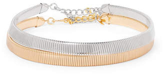Kenneth Jay Lane Set Of Two Silver And Gold-tone Chokers