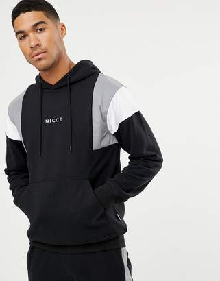Nicce London hoodie in black with reflective panels