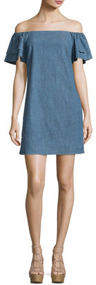 Alice + Olivia Tula Off-the-Shoulder Chambray Shift Dress, Blue $265 thestylecure.com
