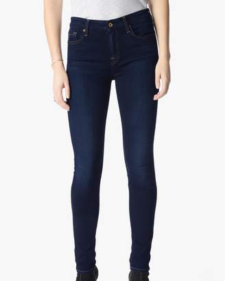 7 For All Mankind B(air) Denim Skinny With Spice Contrast Squiggle in Tranquil Blue