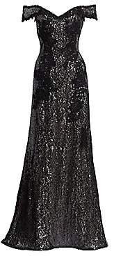 Rene Ruiz Collection Women's Off-The-Shoulder Embellished Gown