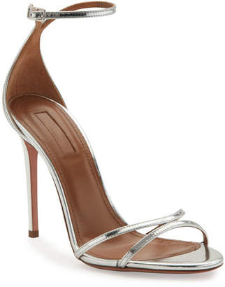 Aquazzura Purist Metallic Specchio Sandals, Silver