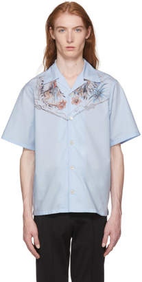 Prada Blue Celeste Native Floral Print Shirt