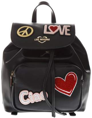 Love Moschino Black Faux Leather Backpack