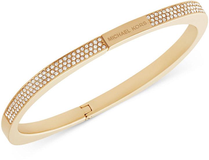 MICHAEL Michael KorsMichael Kors Gold-Tone Pavé Logo Hinged Bangle Bracelet