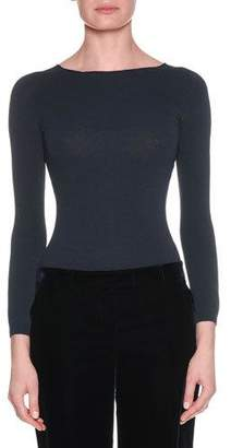 Giorgio Armani Round-Neck Long-Sleeve Thin Knit Wool-Cashmere Top
