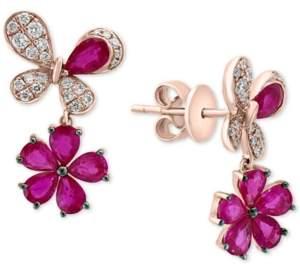 Effy Certified Ruby (2-1/5 ct. t.w.) & Diamond (1/4 ct. t.w.) Flower Drop Earrings in 14k Rose Gold