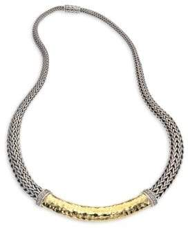 John Hardy Classic Chain Hammered 18K Gold& Silver Diamond Pave Graduated Necklace