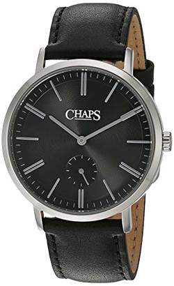 Chaps Men's Dunham Stainless Steel Analog-Quartz Leather Strap