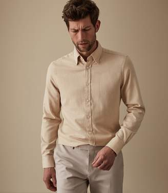 Reiss ORDER BY MIDNIGHT DEC 15TH FOR CHRISTMAS DELIVERY FALCON BRUSHED FLANNEL SHIRT Camel