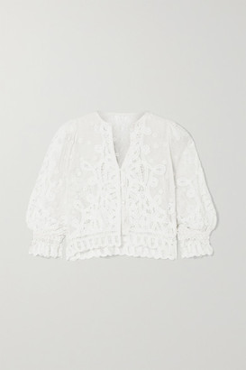 LoveShackFancy Kendra Crocheted Lace And Embroidered Cotton-mesh Cardigan - White